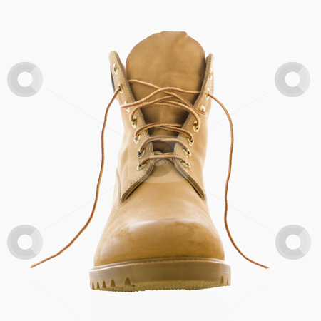 Construction boot.  stock photo, One tan construction boot. by Iofoto Images