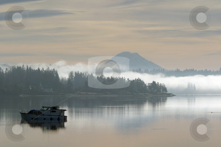 Morning fog & Mt. Rainier stock photo, December 22, 2003:  As the early morning fog in SIlverdale, Washington burned off Mt. Rainier could be seen overlooking Dyes Inlet. by Jesse Beals