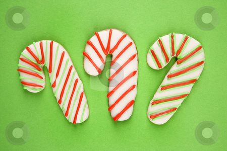 Candy cane cookies. stock photo, Candy cane sugar cookies with decorative icing. by Iofoto Images