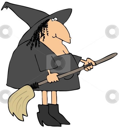 Witch And Her Broom stock photo, This illustration depicts a comical witch carrying a broom. by Dennis Cox