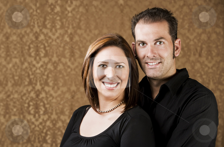 Happy Couple stock photo, Portrait of Hispanic woman and her boyfriend by Scott Griessel