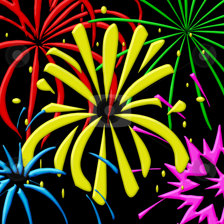 Fireworks stock photo, Illustration of fireworks in primairy colors on black background by Wino Evertz