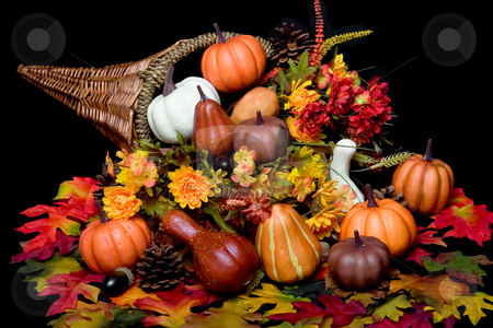 Autumn Harvest stock photo, Cornucopia full of vegetables by Jose Wilson Araujo