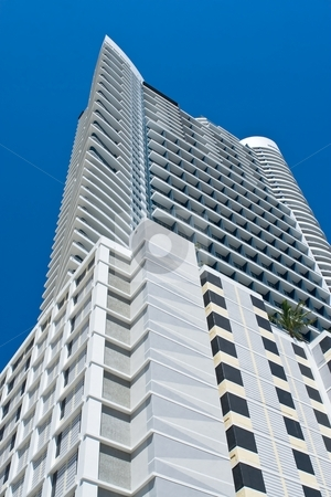 Skyscraper stock photo, Skyscraper detail against blue sky in South Florida by Jose Wilson Araujo