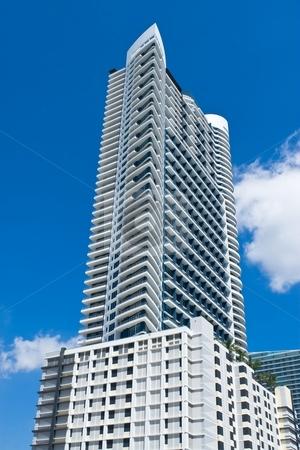 Skyscraper stock photo, Skyscraper detail against blue sky in South Florida by Jose Wilson Araujo
