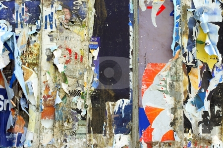 Old billboard stock photo, Torn paper on billboard by Mark Yuill