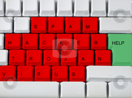 Keyboard - red key virus, trojan, hackers stock photo, Concept from the virus on a keyboard by Paulo Resende