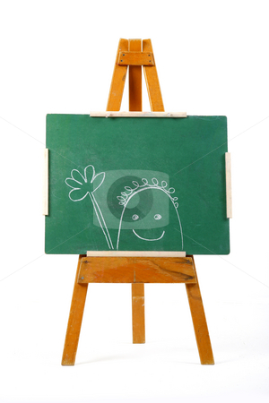 Happy person drawn on chalk board stock photo, Happy person drawn on green chalk board by Mark Yuill