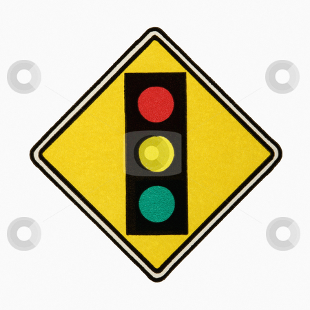 Stoplight sign. stock photo, Stoplight ahead road sign against white background. by Iofoto Images