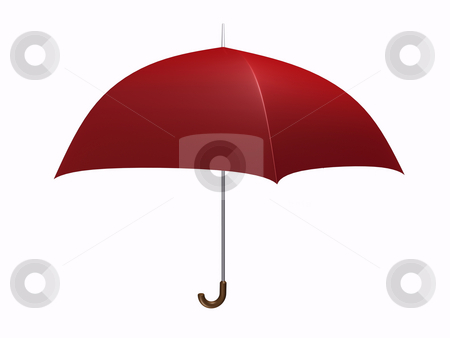 Umbrella Red stock photo, Red Umbrella on white background by John Teeter
