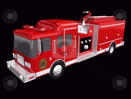 Firetruck stock photo, Fire truck on a black background by John Teeter