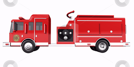 Firetruck side view stock photo, Fire truck side view on white background by John Teeter