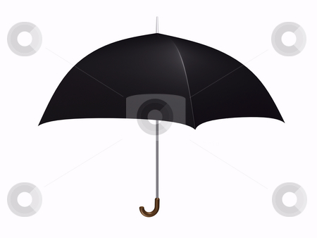 Umbrella Black stock photo, Black umbrella on white background by John Teeter