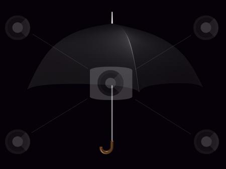 Umbrella Black stock photo, Black umbrella on a black background by John Teeter