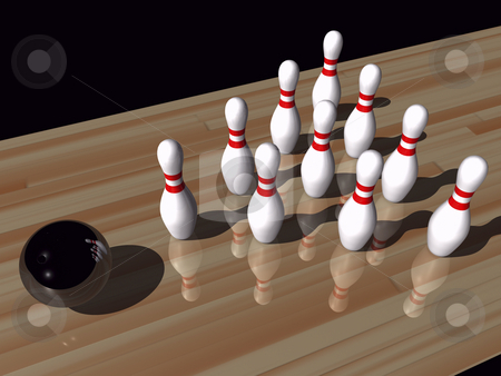 Bowling stock photo, Bowling pins and ball by John Teeter