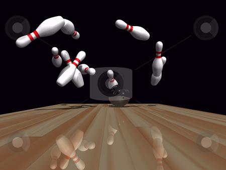 Bowling  stock photo, Bowling ball striking pins on wooden lane by John Teeter