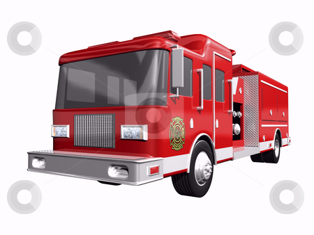 Firetruck stock photo, Fire truck on white background by John Teeter