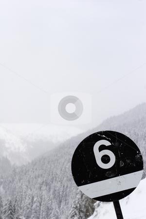 Black ski run sign number six