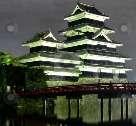 Castle stock photo, Matsumoto Castle by night, Nagano Prefecture, Japan by Martin Darley