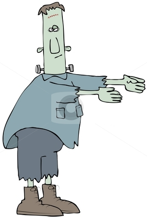 Comical Frankenstein stock photo, This illustration depicts a comical Frankenstein monster with its arms outstretched. by Dennis Cox