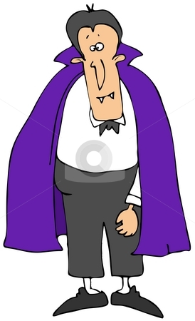 Vampire With A Purple Cape stock photo, This illustration depicts a comical vampire wearing a purple cape. by Dennis Cox