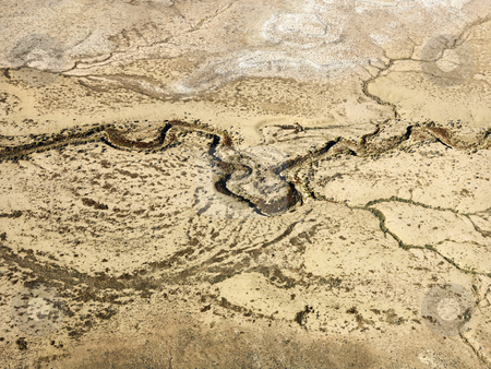 Desert and dry river. stock photo, Aerial of Colorado desert landscape with dried riverbed. by Iofoto Images