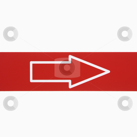 Arrow. stock photo, Red sign with arrow against white background. by Iofoto Images