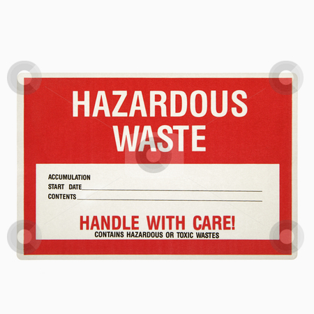 Hazardous waste sign. stock photo, Hazardous waste sign against white background. by Iofoto Images