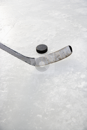 Ice hockey. stock photo, Close up of ice hockey stick on ice rink in position to hit hockey puck. by Iofoto Images