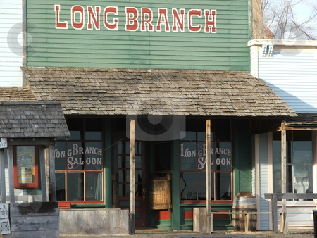 Dodge City's Longbranch Saloon stock photo, FAMOUS WATERING HOLE - The Long Branch Saloon in Dodge City, Kansas was a popular wild west watering hole in the