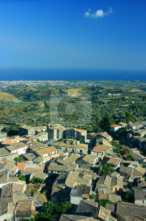 Gerace stock photo, Look on Gerace, olive garden, Locri, and horizon over the sea. Gerace is a medieval city in Calabria (Southern Italy) with around 20 active churches. by Natalia Macheda