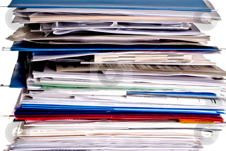 Large stack of business files stock photo, Large stack of business files and folders by Vince Clements
