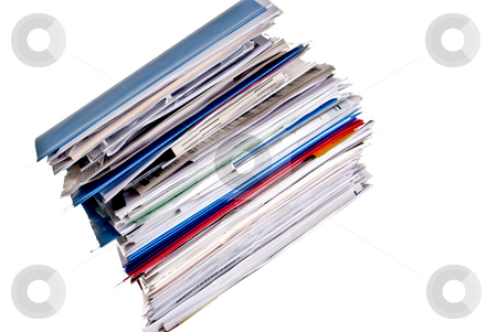 Large stack of business files stock photo, Large stack of business files and folder with space for type by Vince Clements