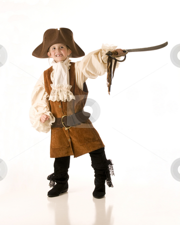Young boy in pirate outfit stock photo, Little girl dressed as pirate for Halloween by RCarner Photography