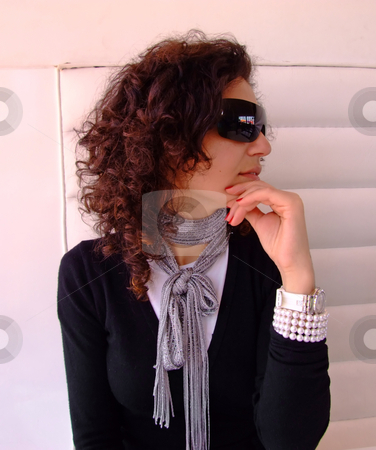 Woman with sun glasses  stock photo, Woman with sun glasses in a coffe by Paulo Resende