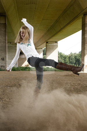 Fashion shoot kicking dust stock photo, Dust kicking in a fashion shoot by Frenk and Danielle Kaufmann