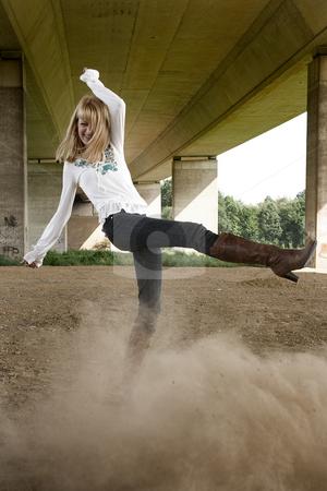 Fashion shoot kicking dust