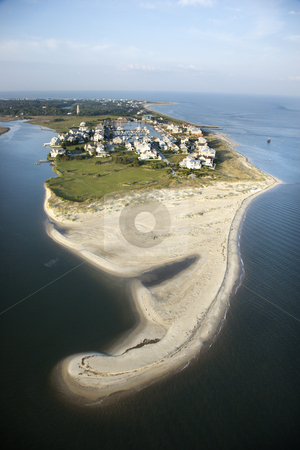 Beach community. stock photo, Aerial view of beach and residential community on Bald Head Island, North Carolina. by Iofoto Images