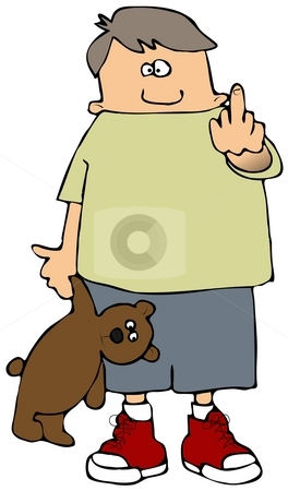 Finger Boy stock photo, This illustration depicts a small boy carrying a teddy bear and flipping the bird. by Dennis Cox