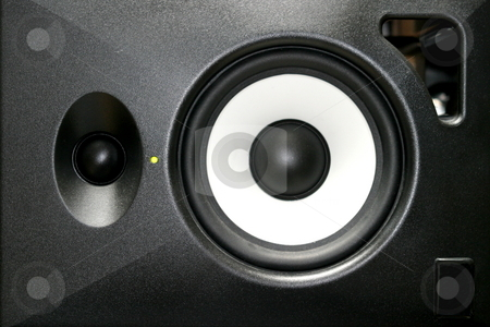 Loudspeaker stock photo, A generica home or studio audio speaker. by Henrik Lehnerer