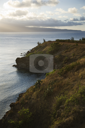 Pacific ocean  cliff. stock photo, Pacific ocean with coastal cliff. by Iofoto Images