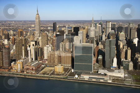 Manhattan, NYC. stock photo, Aerial view of East River and Midtown Manhattan Buildings in New York City. by Iofoto Images