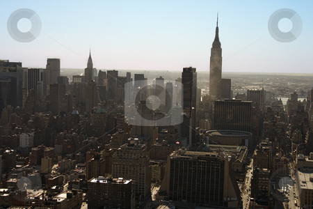 Manhattan, NYC. stock photo, Aerial view of Manhattan city skyline, New York City. by Iofoto Images