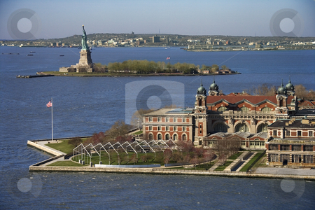Ellis Island. stock photo, Aerial view of Ellis Island with Statue of Liberty, New York City. by Iofoto Images