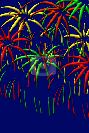 Fireworks stock photo, Red, green and yellow spalshing fireworks on dark background by Wino Evertz