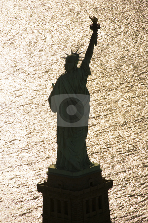 Statue of Liberty. stock photo, Aerial view of Statue of Liberty silhouette. by Iofoto Images