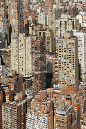 New York City. stock photo, Aerial view of buildings in New York City. by Iofoto Images