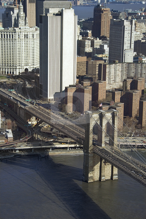 Brooklyn Bridge, NYC. stock photo, Aerial view of Brooklyn Bridge with Chinatown and New York City buildings. by Iofoto Images
