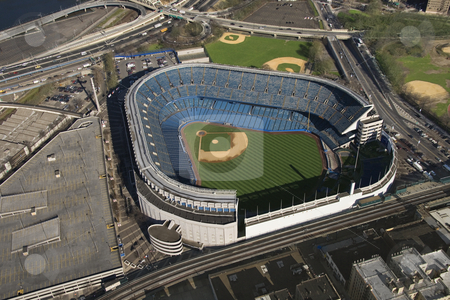 Yankee Stadium. stock photo, Aerial view of Yankee baseball Stadium in the Bronx, New York City. by Iofoto Images