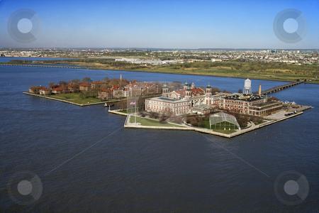 Ellis Island. stock photo, Aerial view of Ellis Island, New York City. by Iofoto Images